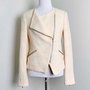 Zara | Asymmetrical Orange Zip Up Tweed Blazer XS